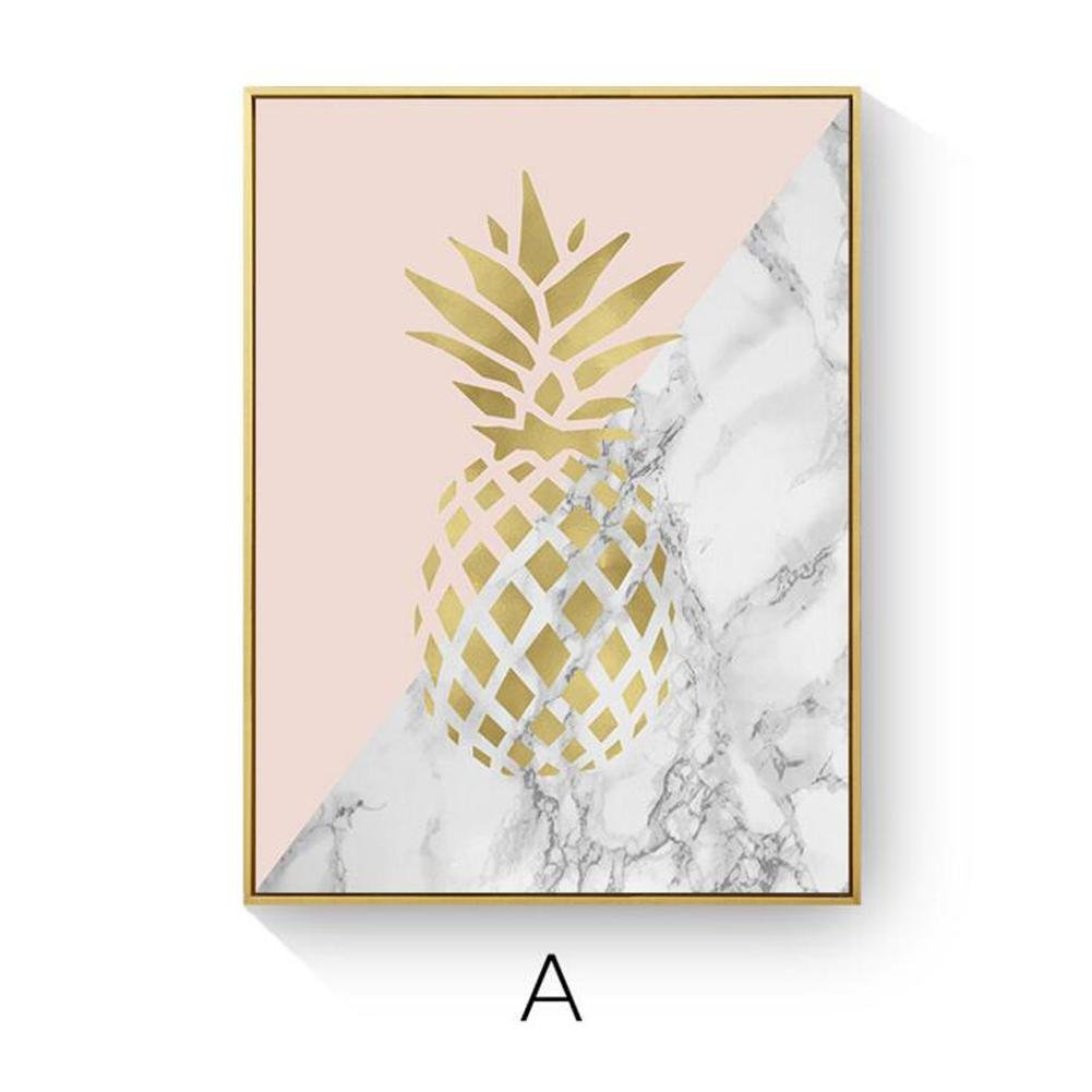 L MINRAN DECOR - Canvas Art Print Framed Sweet pineapple Painting Modern Canvas Prints Artwork Pictures Paintings on Stretched and Framed Canvas Wall Art - ZSH107 , A , 40 * 60 cm