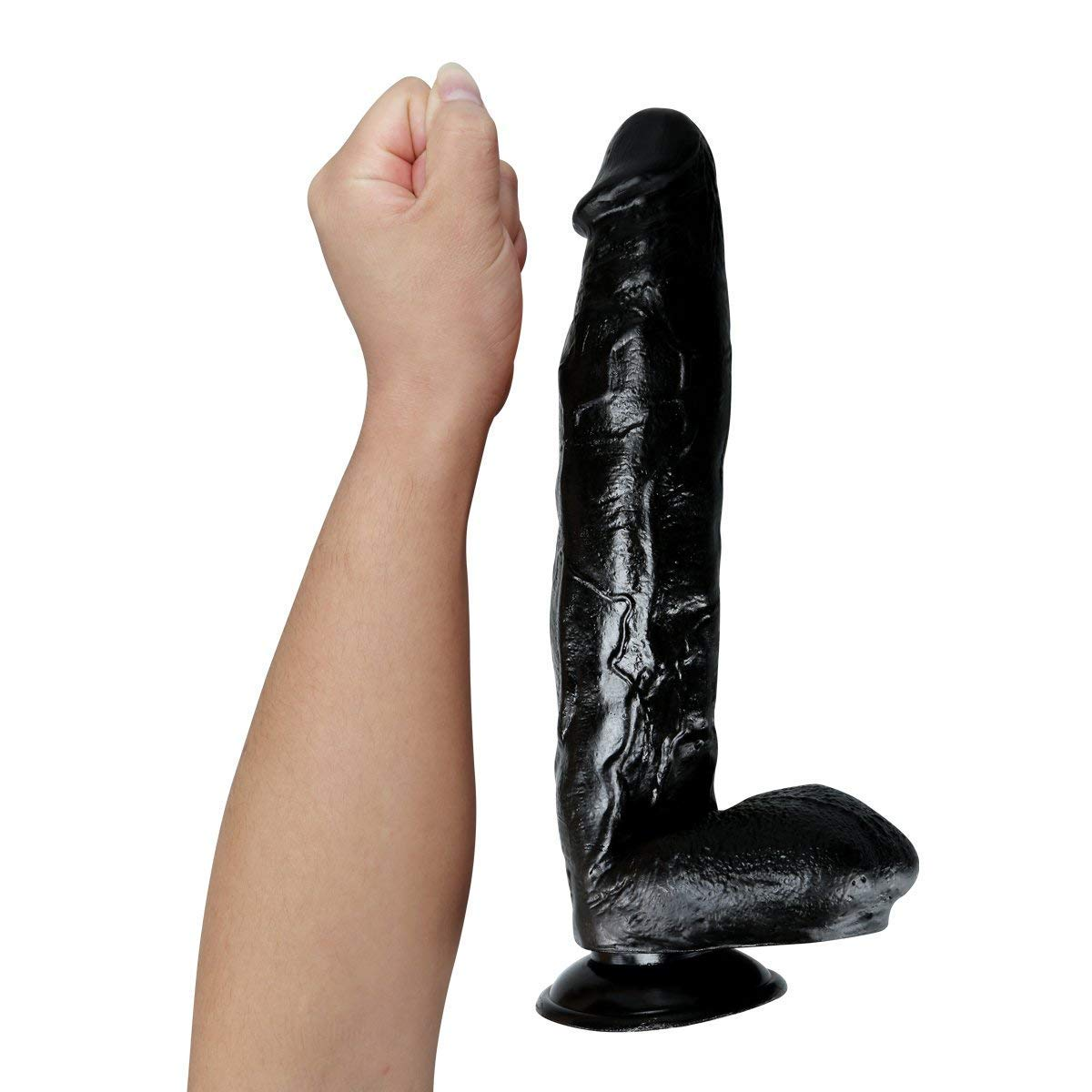 Classic Fantasy 12 Inch Big Black Dî'ldɔ Powerful Suction Cup Flexible Waterproof Relax Massage Wand