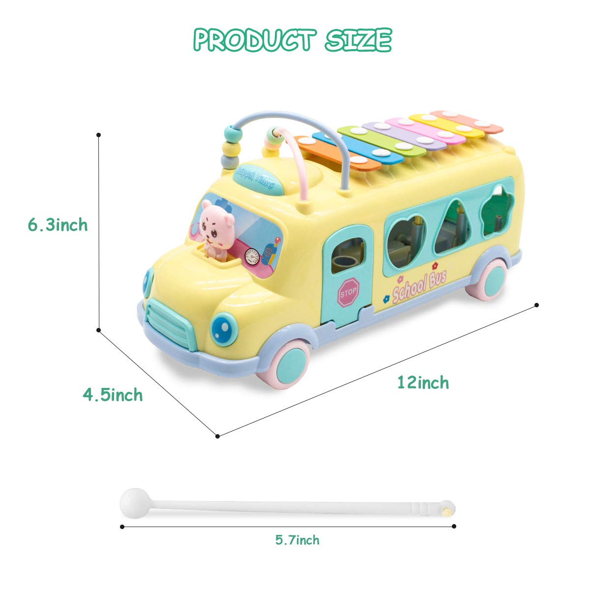 Shape Sorter Multifunctional Vehicles/for Baby Toddlers Kids Boys Girls Preschool 6 Alphabets Blocks Lydaz Pull Along School Bus Toy with Xylophone