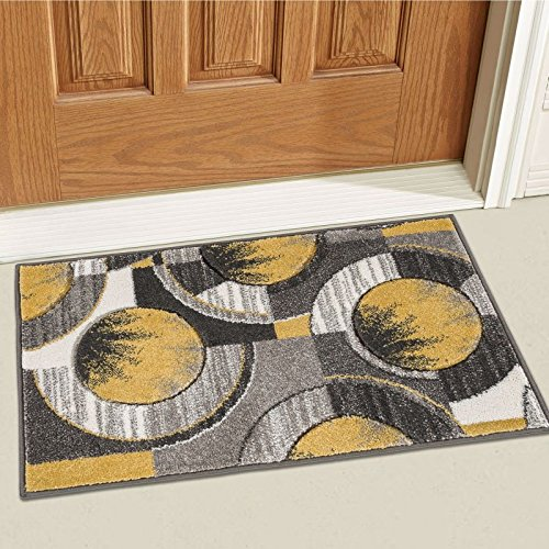 Well Woven Sunburst Gold, Light Gray, Charcoal Modern Geometric Comfy Casual Hand Carved 2x3 (2' x 3') Area Rug Easy to Clean Stain Fade Resistant Abstract Contemporary Thick Soft Plush (Gold Rugs Area Gray And)