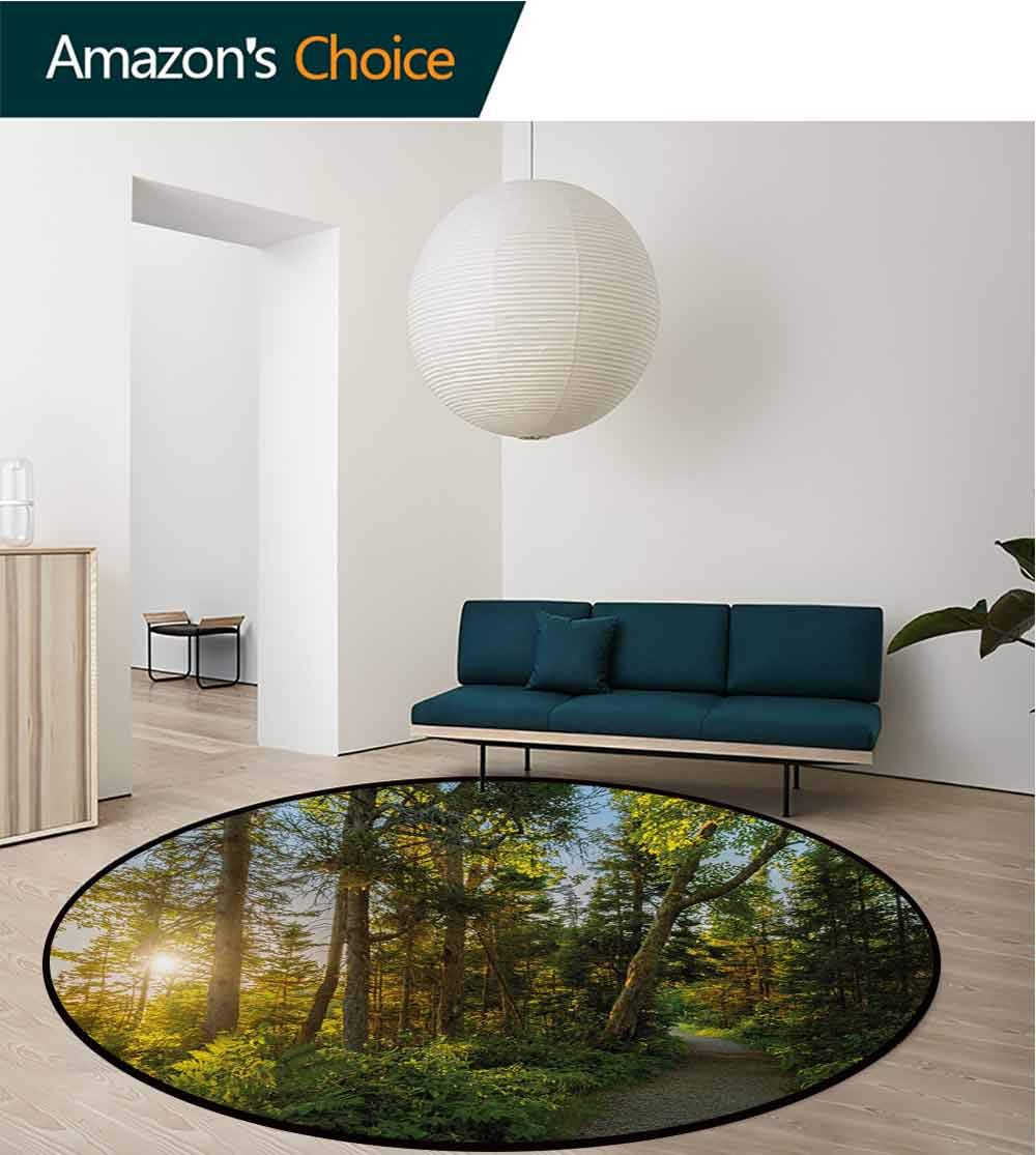 Landscape Art Deco Pattern Non-Slip Backing Machine Washable Round Area Rug,National Park In Cape Breton Highlands Canada Forest Path Trees Tranquility Photo Floor Mat Home Decor,Round-55 Inch