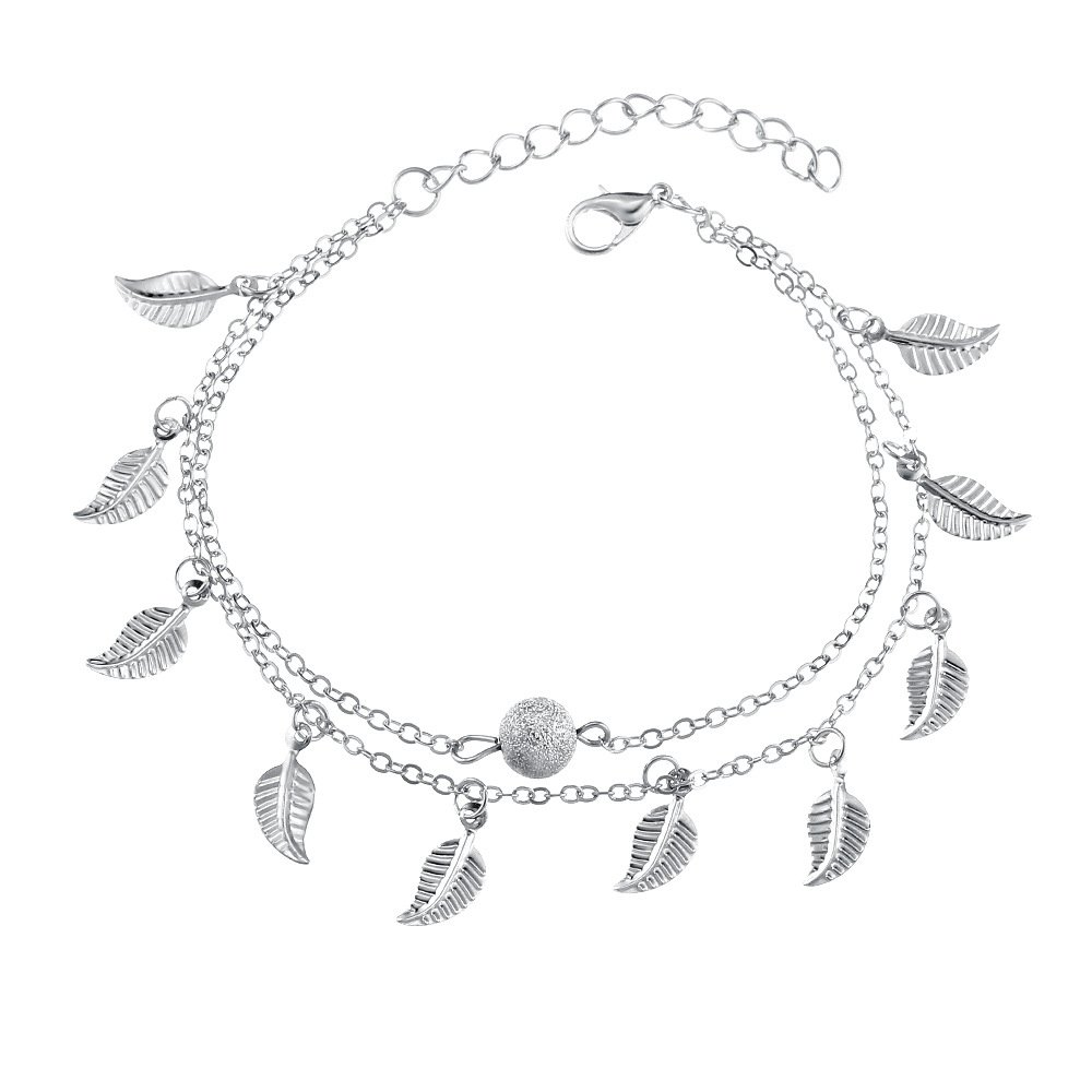 Summer Beach Double Leaves Foot Chain Anklet - Beads Anklets Gothic Jewelry (SILVER)