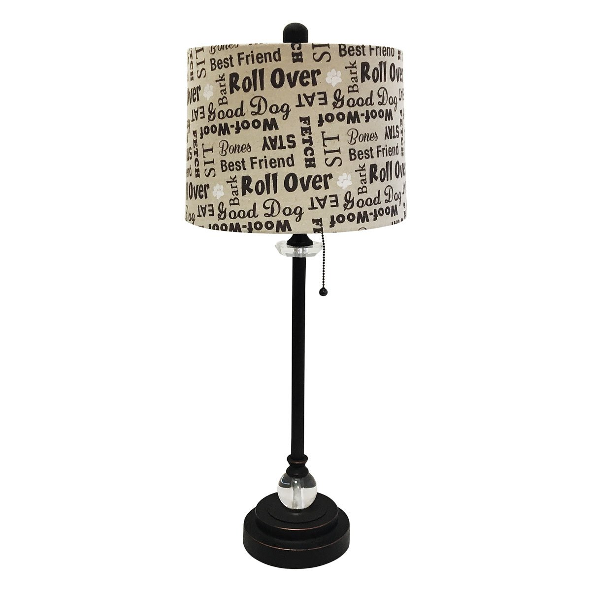 Royal Designs 28'' Crystal and Oil Rub Bronze Lamp with Cream and Brown Dog Lover Print Drum Hardback Lamp Shade
