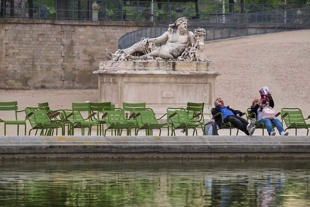 Paris, Photography, Tuileries Garden, man, woman, reclining, statue, chairs, pond, water, imitating, France, Europe, Art Print, Wall Art, Gift, Decor, Photo