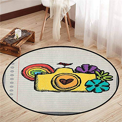 Custom Rugs,Doodle,Yellow Camera with Flowers of Many Colors Mini Bird Rainbow on Notebook,Children Bedroom Rugs,4