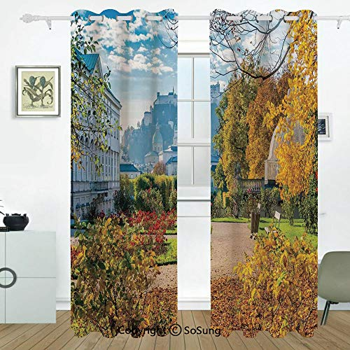 Country Decor Grommet Blackout Window,Mirabell Gardens with The Old Historic Fortress and Flowers Colorful Leaves Cityscape,for Bedroom&Living Room&Patio Sliding Doors,2 Panels Set,108 X 108 Inches,