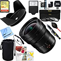 Panasonic LUMIX G LEICA DG VARIO-ELMARIT MIRRORLESS LENS, 8-18MM, F2.8-4.0 ASPH (H-E08018) + 64GB Ultimate Filter & Flash Photography Bundle
