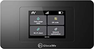 GlocalMe DuoTurbo 4G LTE Mobile Hotspot, No SIM Card Needed, Mifi Hotspot Unlock Device for Home or Travel in 140+ Countries,Smart Local Network Auto-Selection, with US 8GB & Global 1GB Data, (Black)