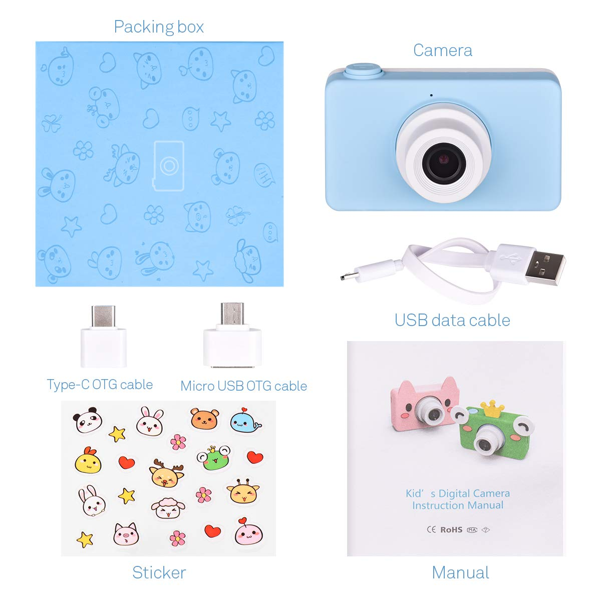 Tyhbelle Kids Camera Soft case Anti-Dropping Digital Camera Camcorder for Kids Toy with TF Card / Micro SD Card (Blue Camera) by Tyhbelle (Image #6)
