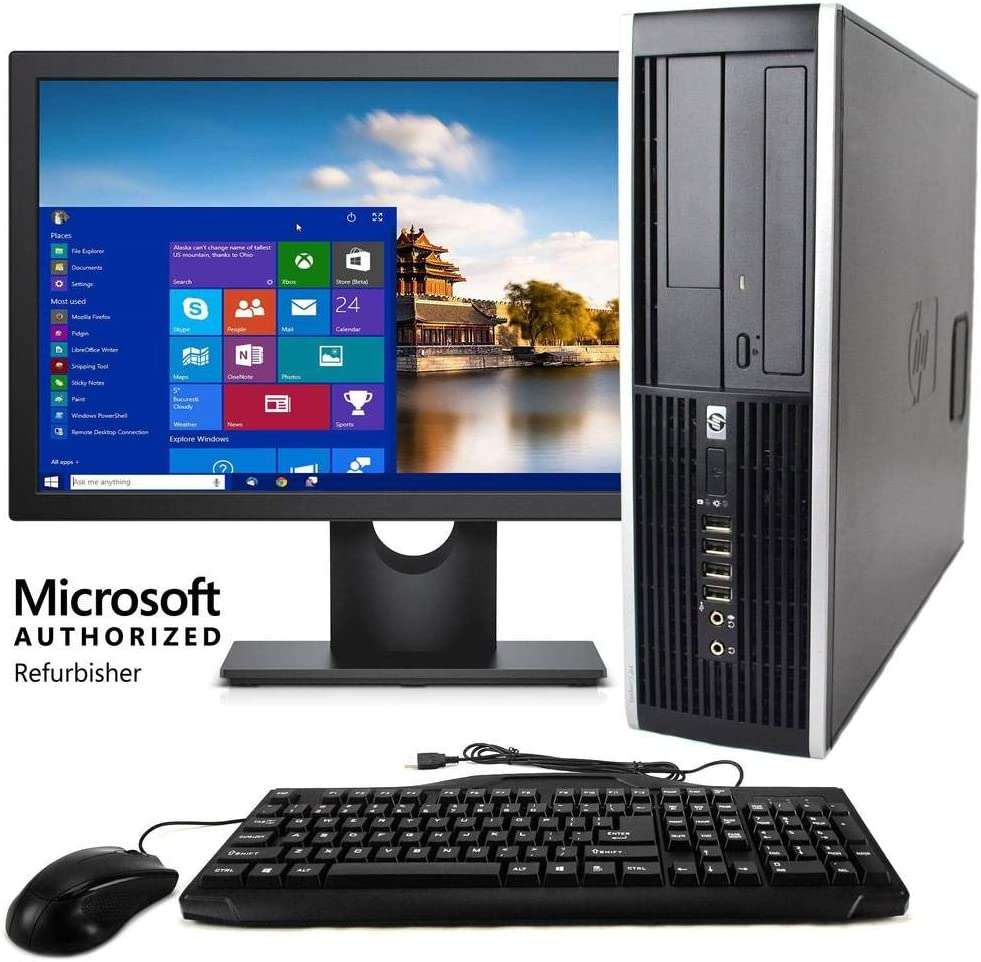 "HP Elite Desktop Computer, Intel Core i5 3.2 GHz, 8 GB RAM, 500 GB HDD, Keyboard & Mouse, Wi-Fi, 19"" LCD Monitor, DVD-ROM, Windows 10, (Renewed)"