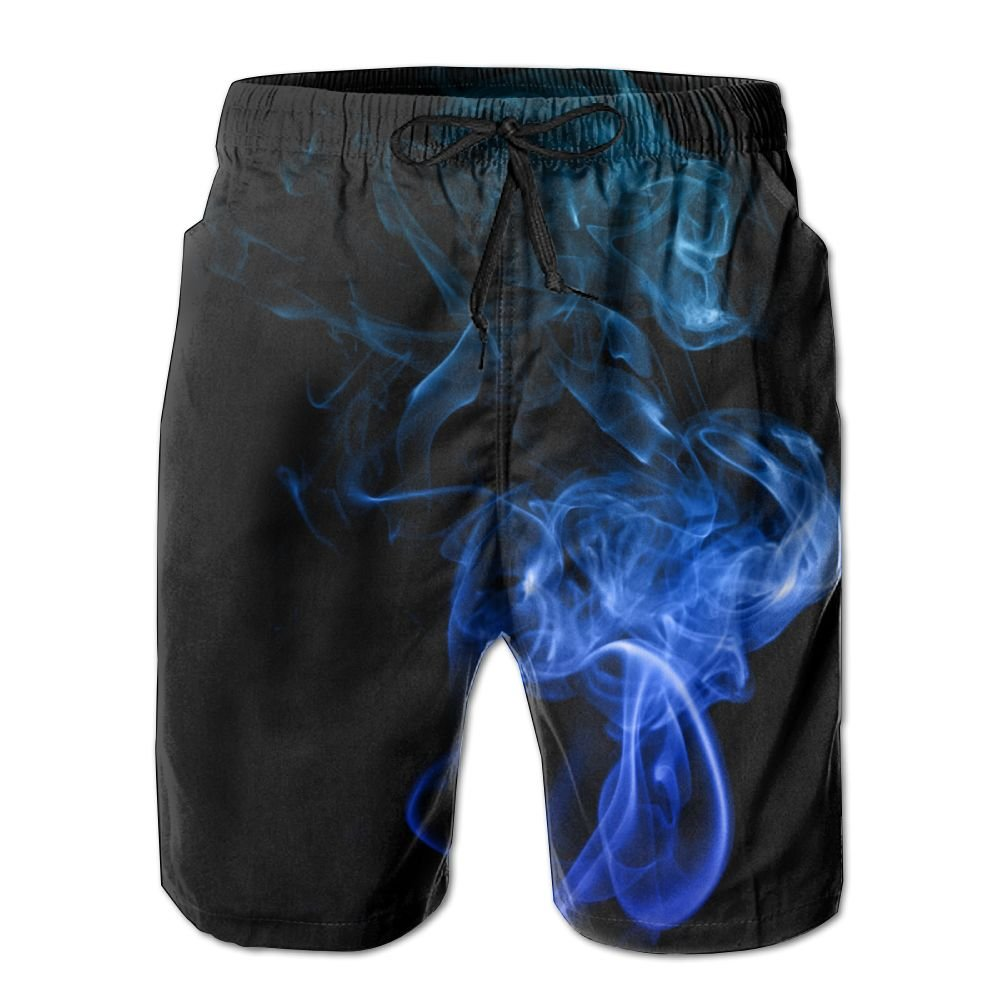 ZQ-SOUTH Mens Blue Dragon Smoke Art Quick Dry Summer Beach Surfing Board Shorts Swim Trunks Cargo Shorts