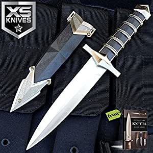 "10"" Dark Assassin Medieval Dagger Stainless Steel Short Sword W/ Sheath + Free eBook by SURVIVAL STEEL"