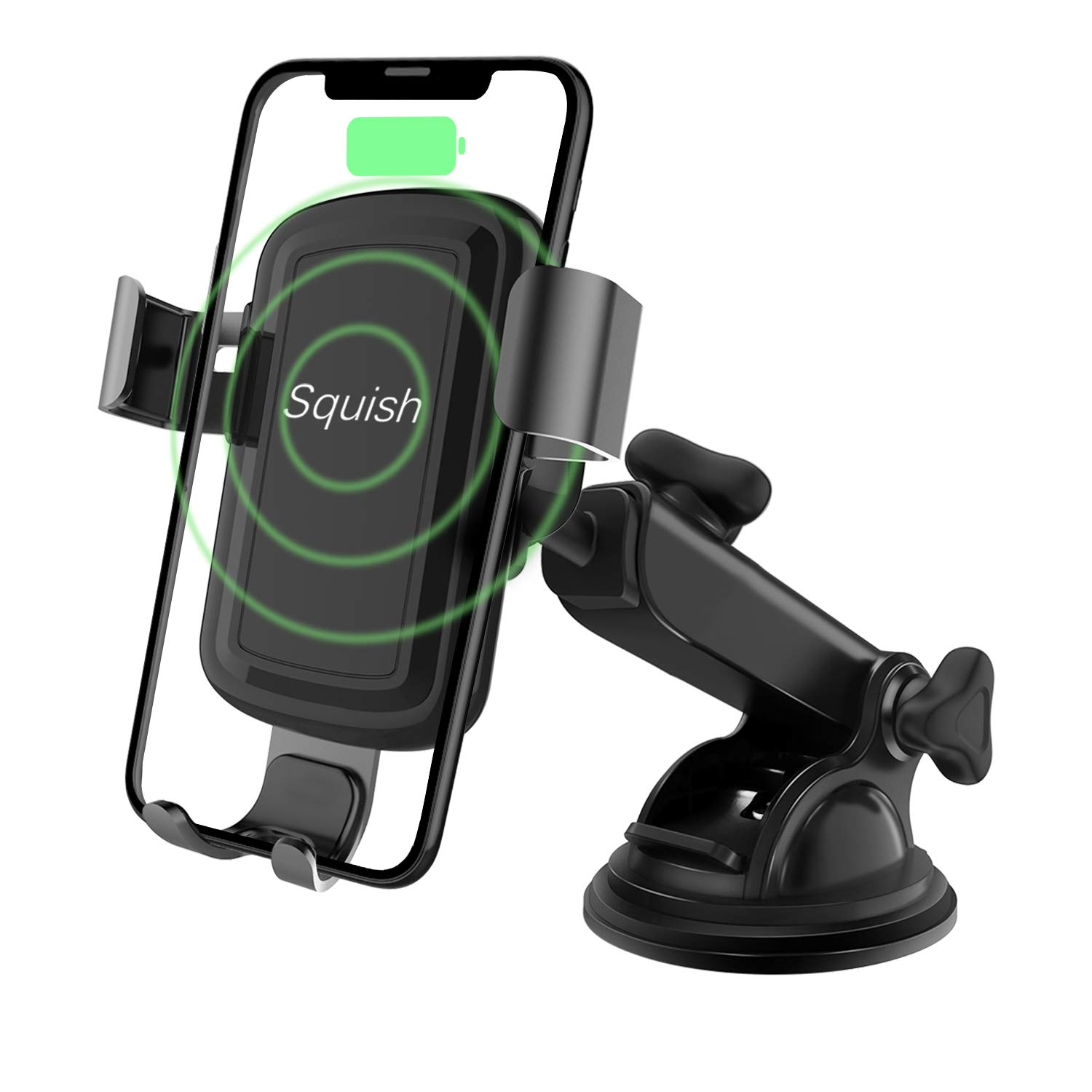 Wireless Charger Car Phone Mount, Squish Qi Fast Charging Wireless Car Charger Mount 10W 7.5W, Cell Phone Holder for iPhone Xs Max/XS/XR/X/8Plus/8 and for Samsung S10/S9/S9+/S8/S8+/Note9/Note8 etc by Squish