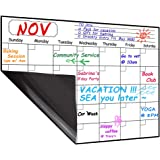 Monthly Magnetic Dry Erase Board Calendar 2019-2020, 15.8 x 11.8 inches - Your Month Goal Setting Planner - Fridge Magnetic Planning Pad, Refrigerator Whiteboard (Upgraded Stain-Resistant Surface)