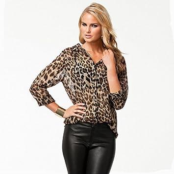 OXSHIRT Leopardo Chaqueta de Leopardo Camisa de Impresión ...
