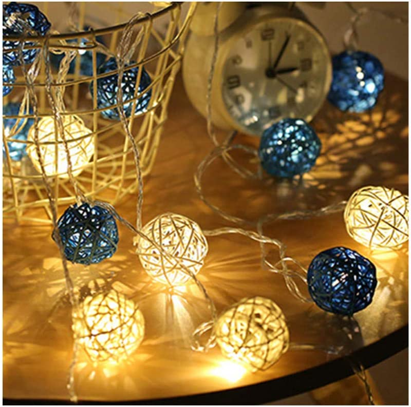 Waterproof Rattan Ball String Lights, 13.1feet 20 LED, Battery Operated, Copper Wire, Energy Efficient, Steady on/Flash/Timer 3 Mode, Indoor Outdoor Blue White Light Decorative for Christmas Party.
