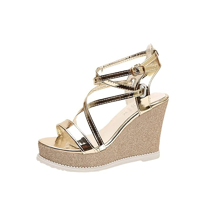 157de46514783 ... Open Toe Cross Strap Sexy  DENER Women Ladies Girls Summer Platform  Wedge Sandals