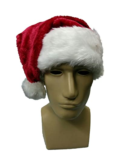 32d69d83654f5 Amazon.com  Santa Hat Snapback with Faux Fur Trim Border and Puffy Ball Red  Dark Red  Clothing