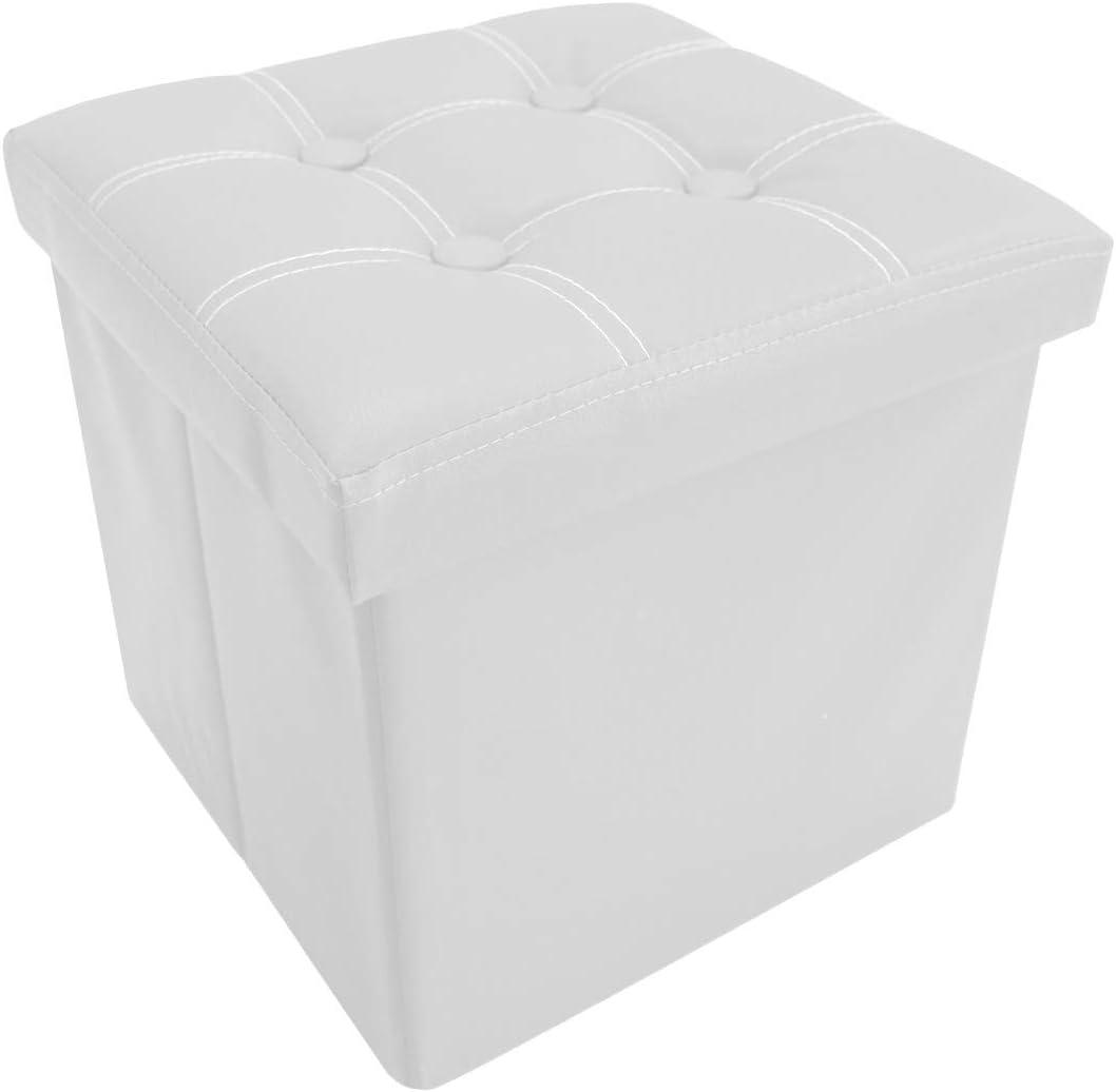 Rebecca Mobili Puff contenedor - Art asiento para almacenar Medidas: 37 x 110 x 38 cm cuero sint/ético ahorra espacio RE6159 AxANxF burdeos