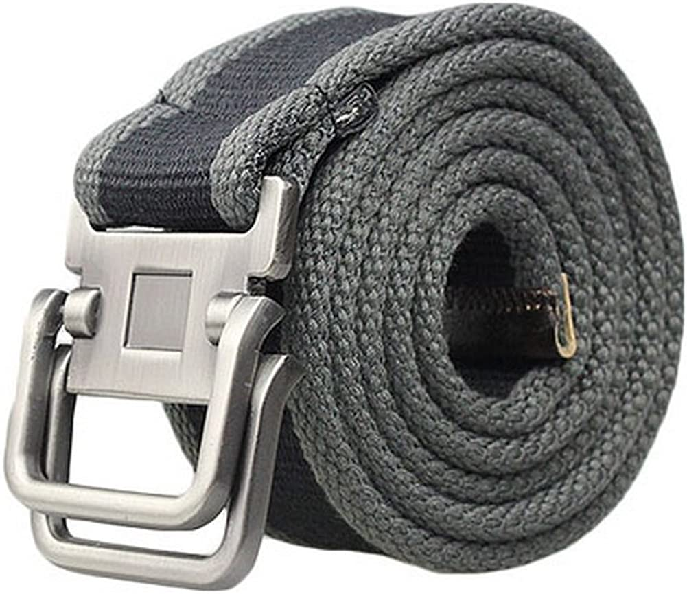 Mens Fashion Casual Canvas Belt Buckle 2-Gray