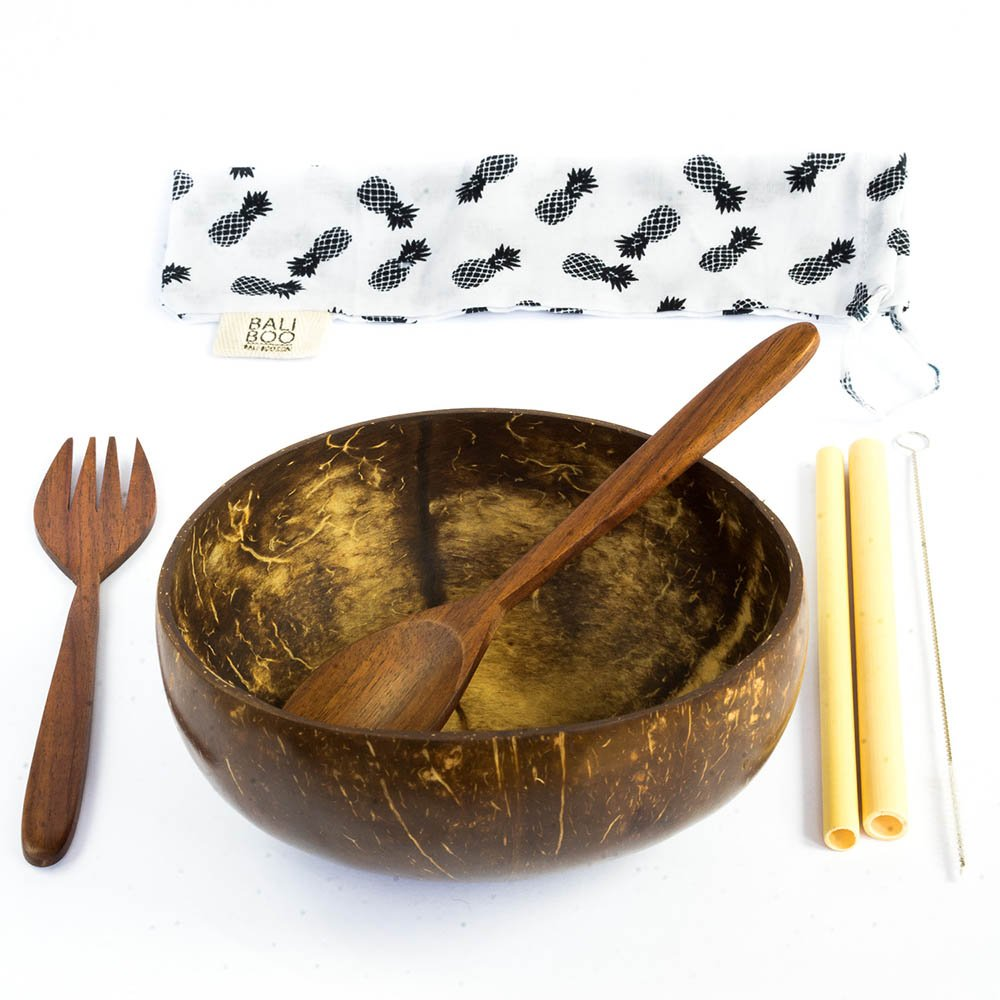1 Coconut Bowl by Bali Boo | 100% Natural, Reusable, Washable | Includes 1 Cutlery Set with 1 Wooden Fork, 1 Wooden Spoon, 2 Bamboo Straws, 1 brush cleaner and a cotton pouch | Handmade in Bali