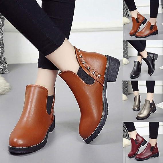 Botas, JiaMeng Botas de Mujer Zapatos Planos con Remaches Martain Boots Botines de Cuero con Punta Redonda: Amazon.es: Ropa y accesorios