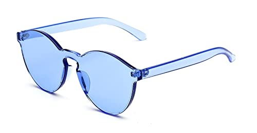 9f39144cbf GAMT Rimless Tinted Transparent Sunglasses Futuristic Colorful Designer Glasses  Blue