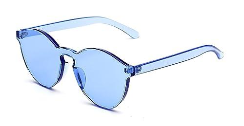 48d0d23207 GAMT Rimless Tinted Transparent Sunglasses Futuristic Colorful Designer  Glasses Blue