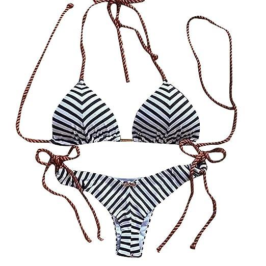 600f87bba7 Amazon.com: Alangbudu Womens Sexy Tie Top Bottom Adjustable Skimpy Striped  Print Elastic Triangle Bikini String Swimsuit: Clothing