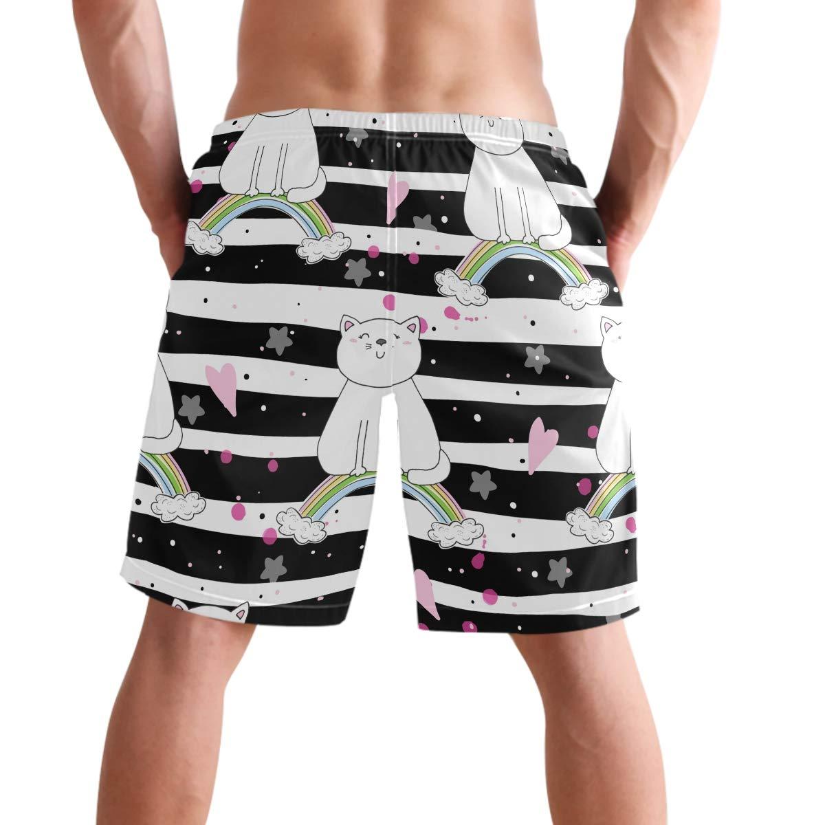 visesunny Mens Cat Rainbow Striped Swimtrunks Quick Dry Casual Hawaiian Mesh Lining Beach Board Shorts with Pockets S-XXL