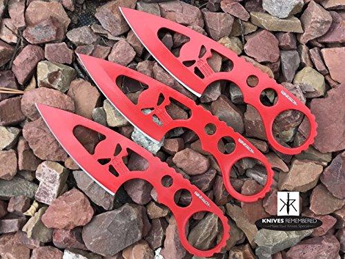 Monogram Knife, Custom Knives, Throwing Knife, Combat Knife, Personalized Knife, Engraved Knives, Fixed Blade Knife, PUNISHER SKULL Design (Red)