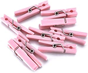 50 PCS Small Transparent Plastic Tool Paper Clips Clothespins Clip Clothing Line Clip Photo Clips 3.5 x 0.7 cm Mini Clothespins Baby Shower Clothing Pins Plastic Small Clips for Party (Pink)