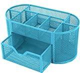GPCT Office School Home/Teacher Supplies Mesh Desk Pen Organizer. Comes W/ 4 Pencil Cups For Highlighters/Pens/Sharpie, 4 Square Compartments For Paper Clips/Sticky Notes & 1 Supply Drawer- Blue