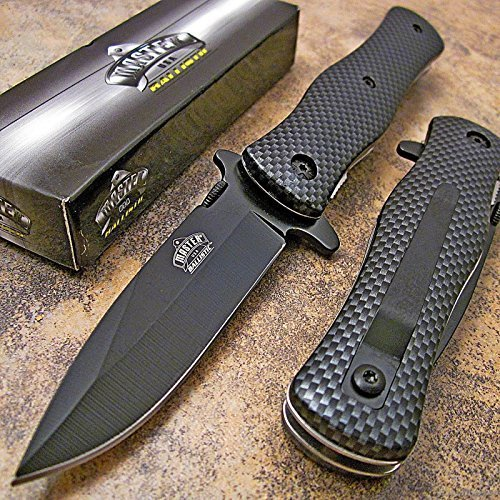 - Master Carbon Fiber Drop Point Spring Assisted Opening Tactical Pocket Knife NEW