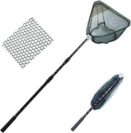 Folding Fishing Landing Net 3 Section Extending Pole Handle Durable Triangular