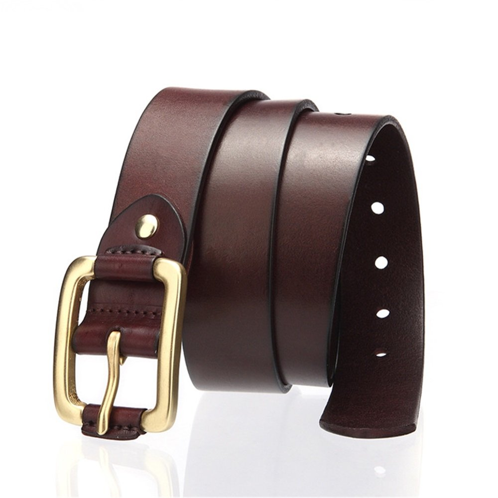 - Cowhide Men Leisure Needle Buckle Belt Pure Pure Pure Copper Buckle Retro Hand Leather Belt Genuine (color   Brown) c4ad64