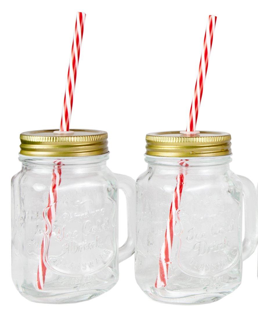 amazoncom mason jar mugs with handle tin lid and plastic straws 16 oz each old fashion drinking glasses pack of 4 by lilyu0027s home old fashioned - Mason Jar Glasses