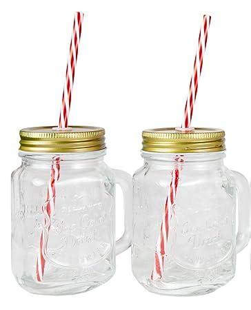 mason jar mugs with handle tin lid and plastic straws 16 oz each - Mason Jar Drinking Glasses