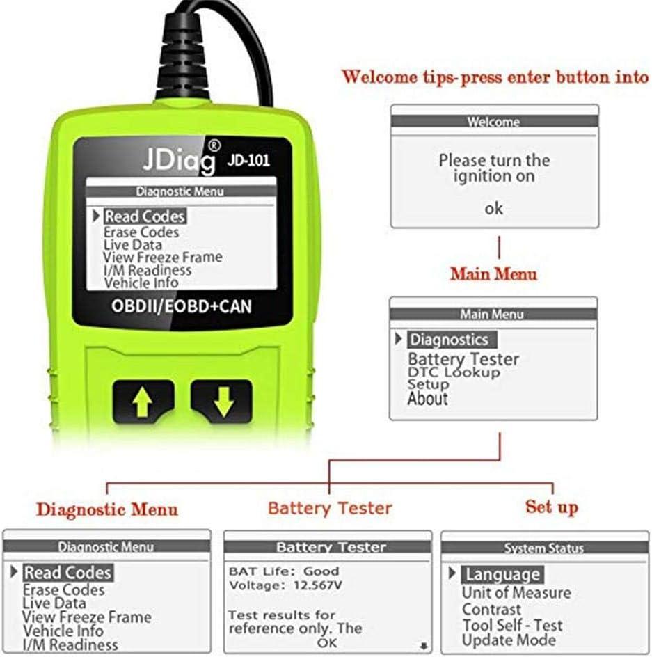 OBD2 Scanner Diagnostic Auto Lire et Effacer Erreur Codes Moteur OBD II Outil Diagnostic Batterie Diagnostique Outil Avec Stockage// Relecture 2,8 inch couleur Ecran Pour Mode OBD2//EOBD//CAN V/éhicule
