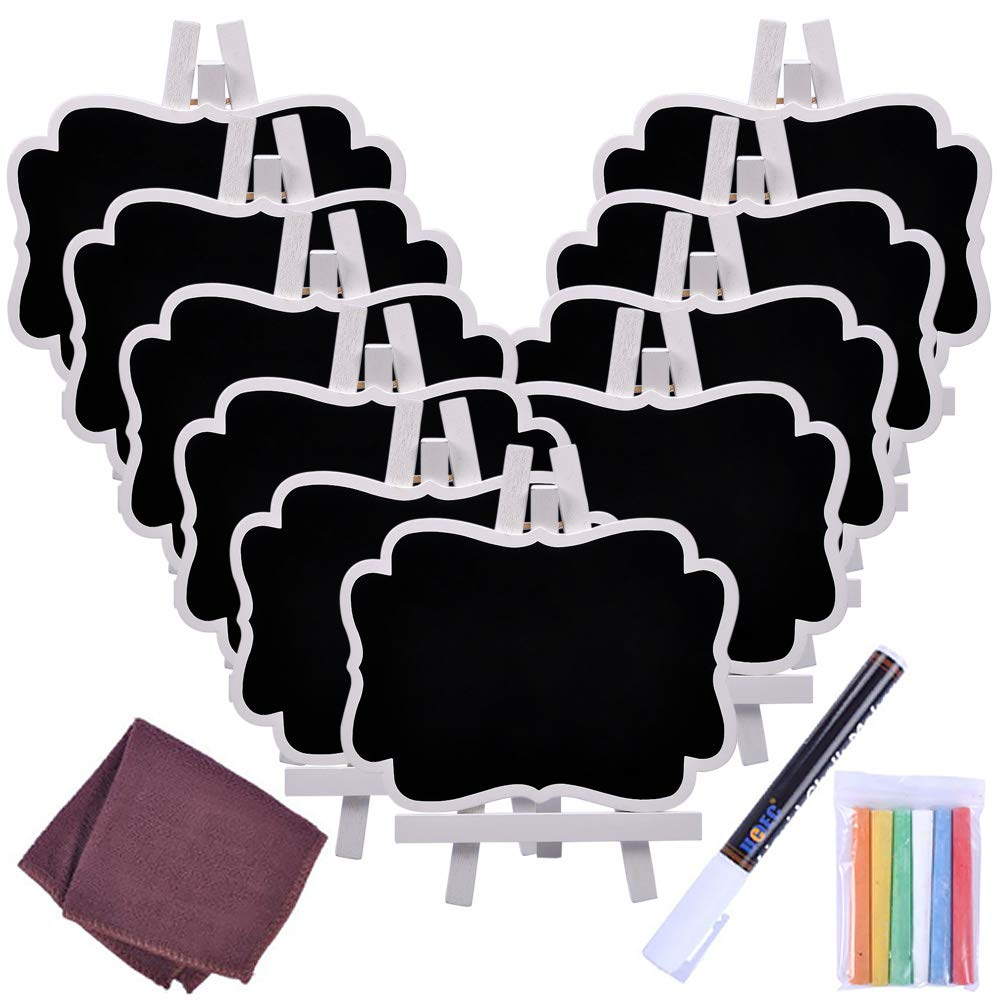 Chalkboard Sign, UCEC Mini Small Chalkboard Easel, 10 PCS Wood Framed Rectangle Message Board Signs Place Cards for Weddings, Parties, Table Numbers, Food Signs, Special Event Decoration with Easel by UCEC