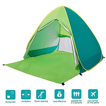 BATTOP Automatic Pop Up Beach Tent Sun Shelter Cabana 2-3 Person UV Protection Beach  sc 1 st  Amazon.com & Amazon.com: BATTOP Automatic Pop Up Beach Tent Sun Shelter Cabana ...