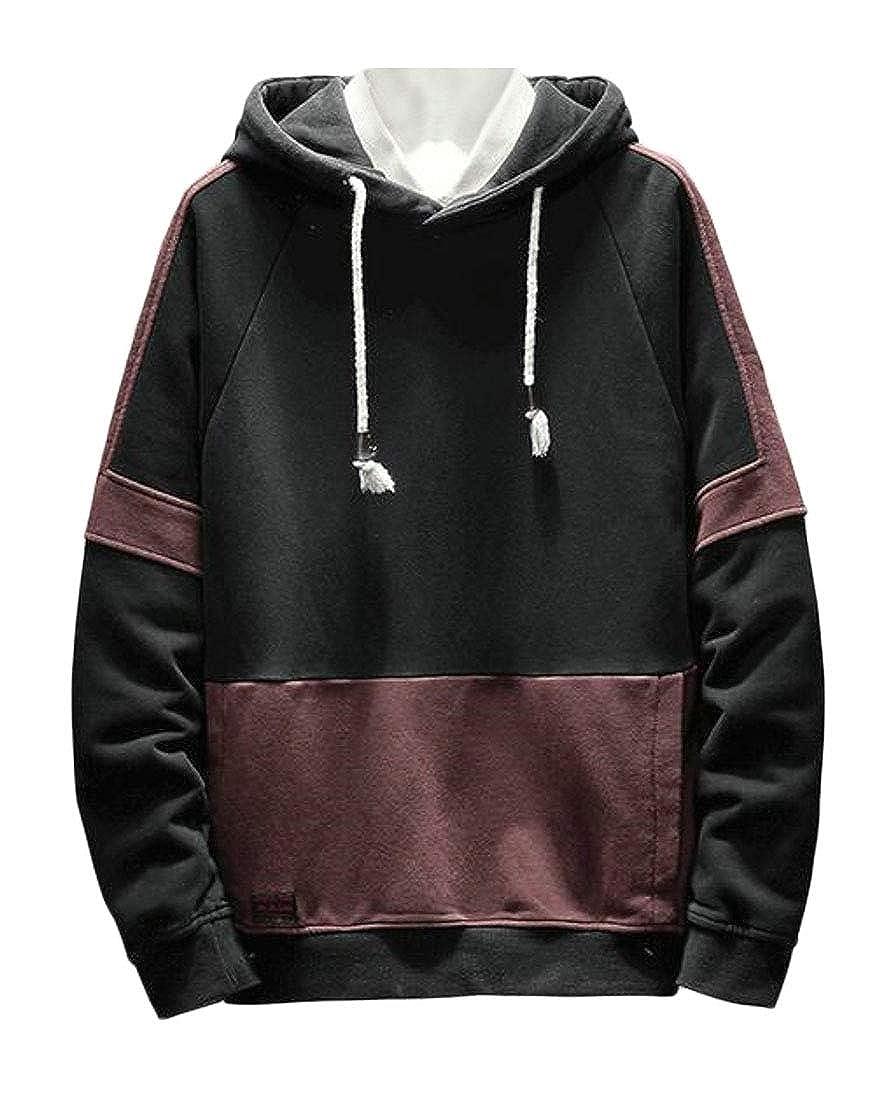 ARTFFEL Men Plus Size Color Blocked Pocket Fleece Pullover Hooded Sweatshirt