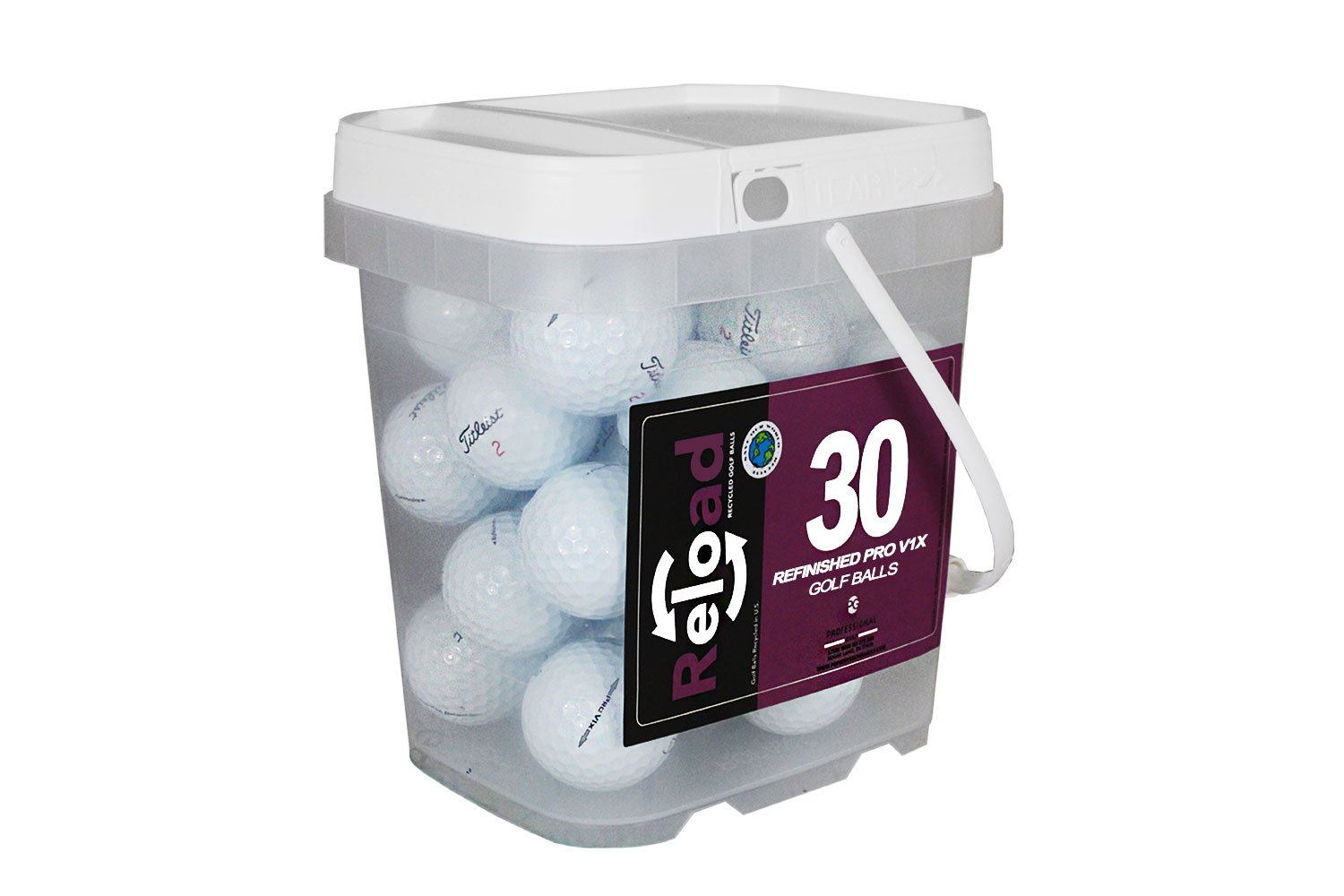 Titleist Reload Recycled Golf Balls Pro v1X Golf Balls (30 Pack) (Renewed) by Titleist