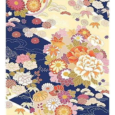 Ambesonne Japanese Duvet Cover Set, Traditional Kimono Motifs Composition Floral Patterns Vintage Artwork, Decorative 3 Piece Bedding Set with 2 Pillow Shams, King Size, Cream Indigo: Home & Kitchen