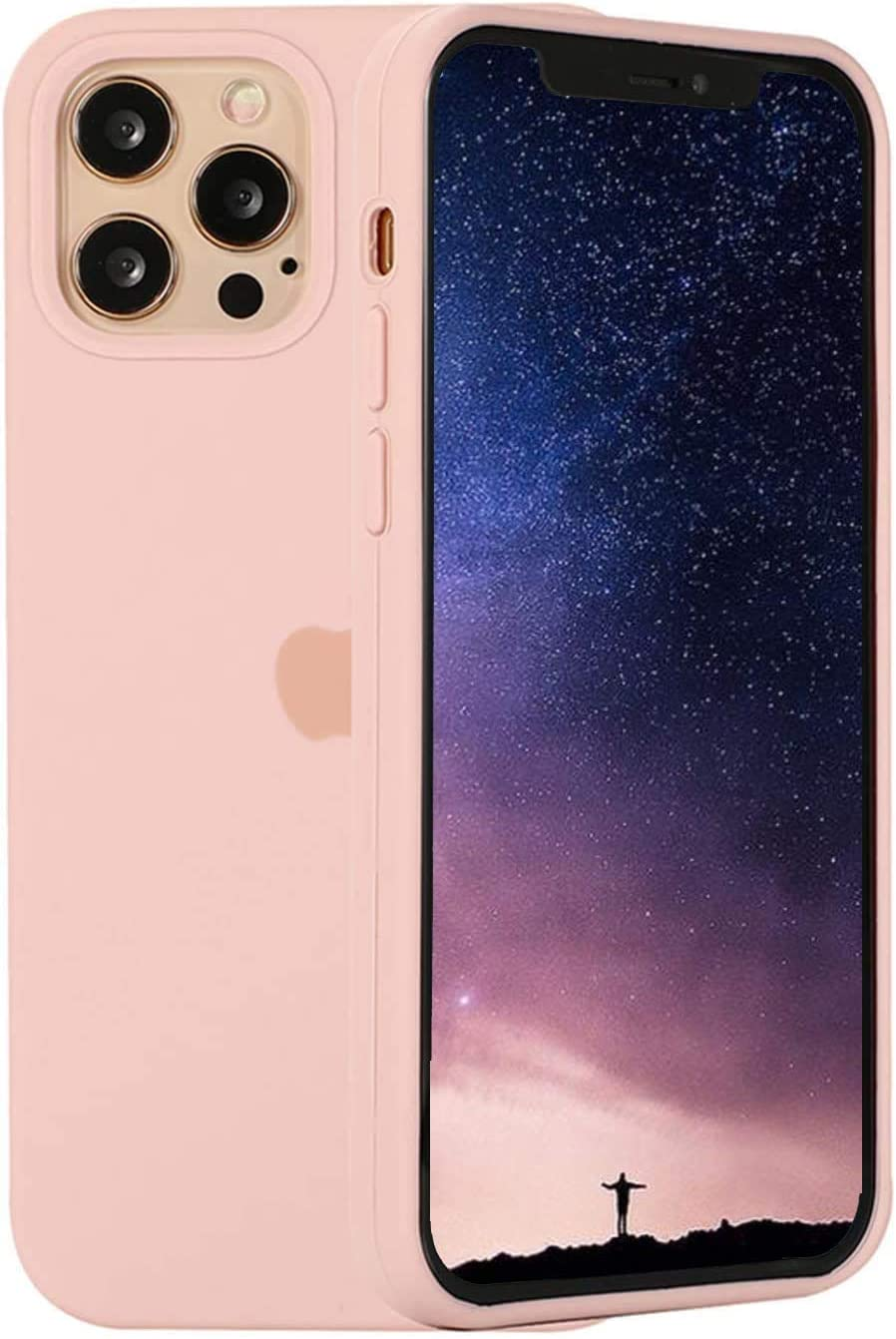 Silicone Case Compatible for iPhone 12   iPhone 12 Pro 6.1 Inch, Soft Silicone Gel Rubber Slim Soft Full Body Protection Bumper Cute Case for Women and Girls - Pink Sand