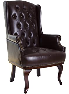 Incroyable ANGEL HOME U0026 LEISURE Queen Anne Fireside High Back Orthopedic Wing Back Leather  Chair Chesterfield Type