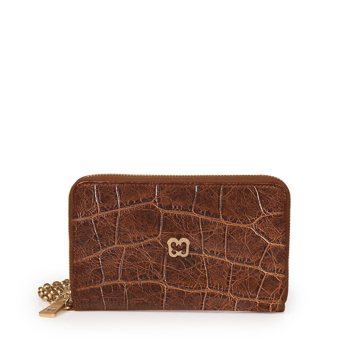 Eric Javits Luxury Fashion Designer Women's Handbag - Smartphone Wristlet - Burnt