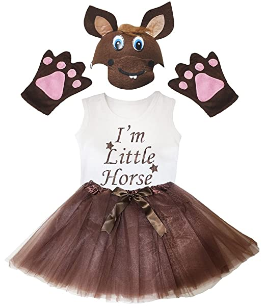 Amazon.com: petitebella I m little caballo Camisa café ...