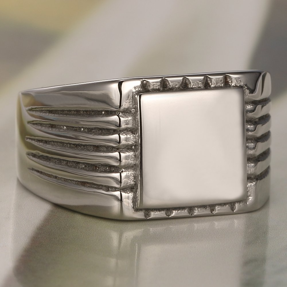MOWEN Jewelry silver Plated Classic Polishing Stainless Steel Mens Ring