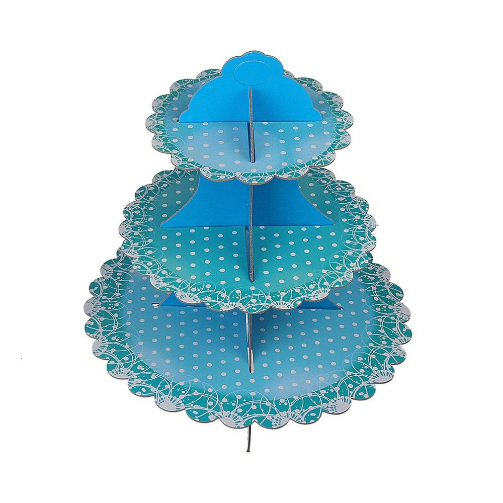 Xidan Cupcake Stand Basamento a Tre Strati con Scatola Decorata per Ttorta e Cupcake, Cornice per Dessert per Feste di Matrimonio e Compleanno